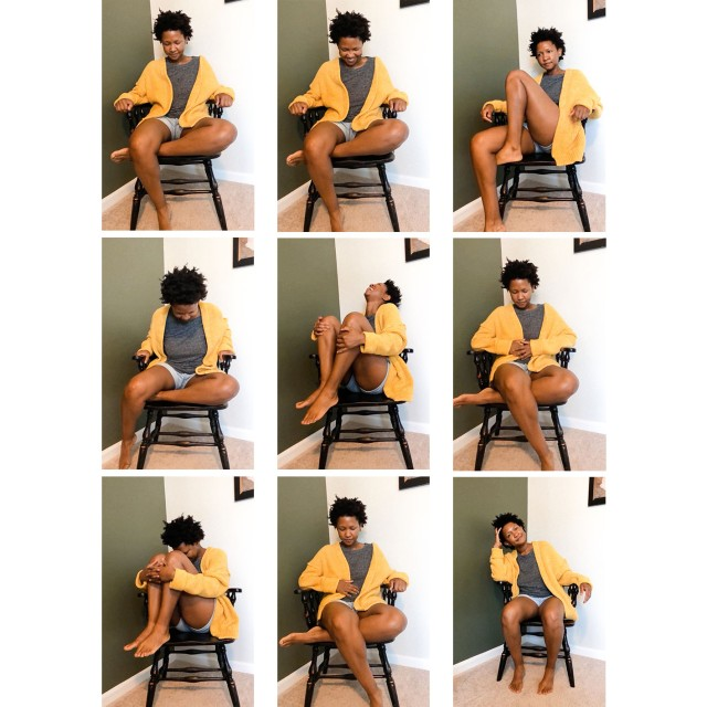 9 images of a person with short hair wearing a grey top, yellow cardigan and shorts sitting in various positions a black chair in the corner of a room. The background is one green wall and one white wall.